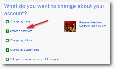 Create password user account