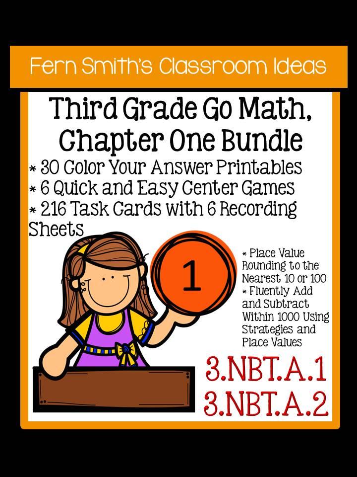 Just Published Third Grade Go Math Chapter One Mega Bundle For 3