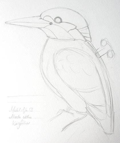Line Drawing Kingfisher : Hazel fisher creations clockwork kingfisher from