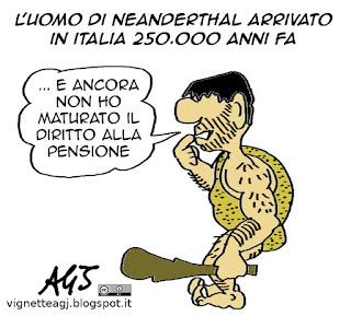 pensioni, neanderthal, artropologia, vignetta satira