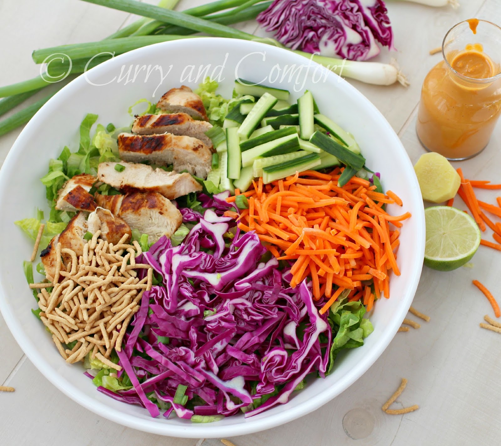 Kitchen Simmer: Asian Grilled Chicken Salad with Spicy Peanut Dressing ...