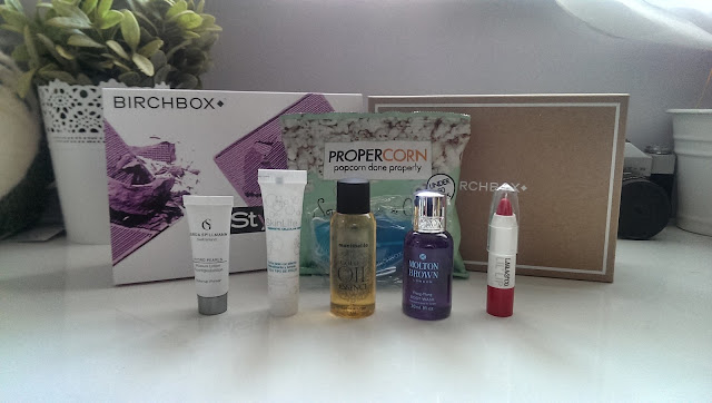 A picture of all the August Birchbox products
