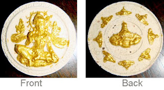 WAT JANG (LARGE)-WHITE WITH GOLD FOIL, SACRED SAND AND STONES