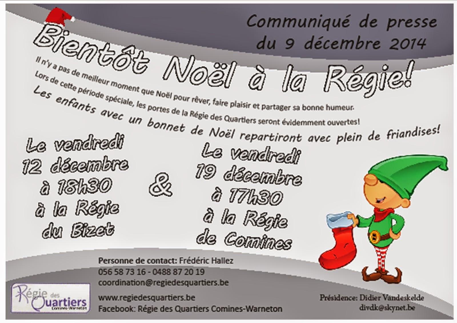 12 et 19 décembre Noël à la régie des quartiers.