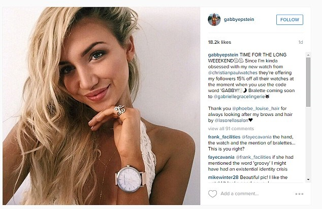 Gabrielle Epstein, faz milhares de dólares no Instagram