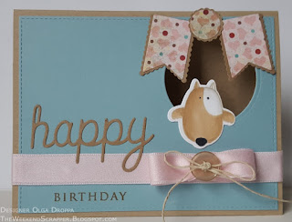 Card with You Make My Tail Wag dog stamp with Kraft, Berryllicious and Pink Lemonade colors