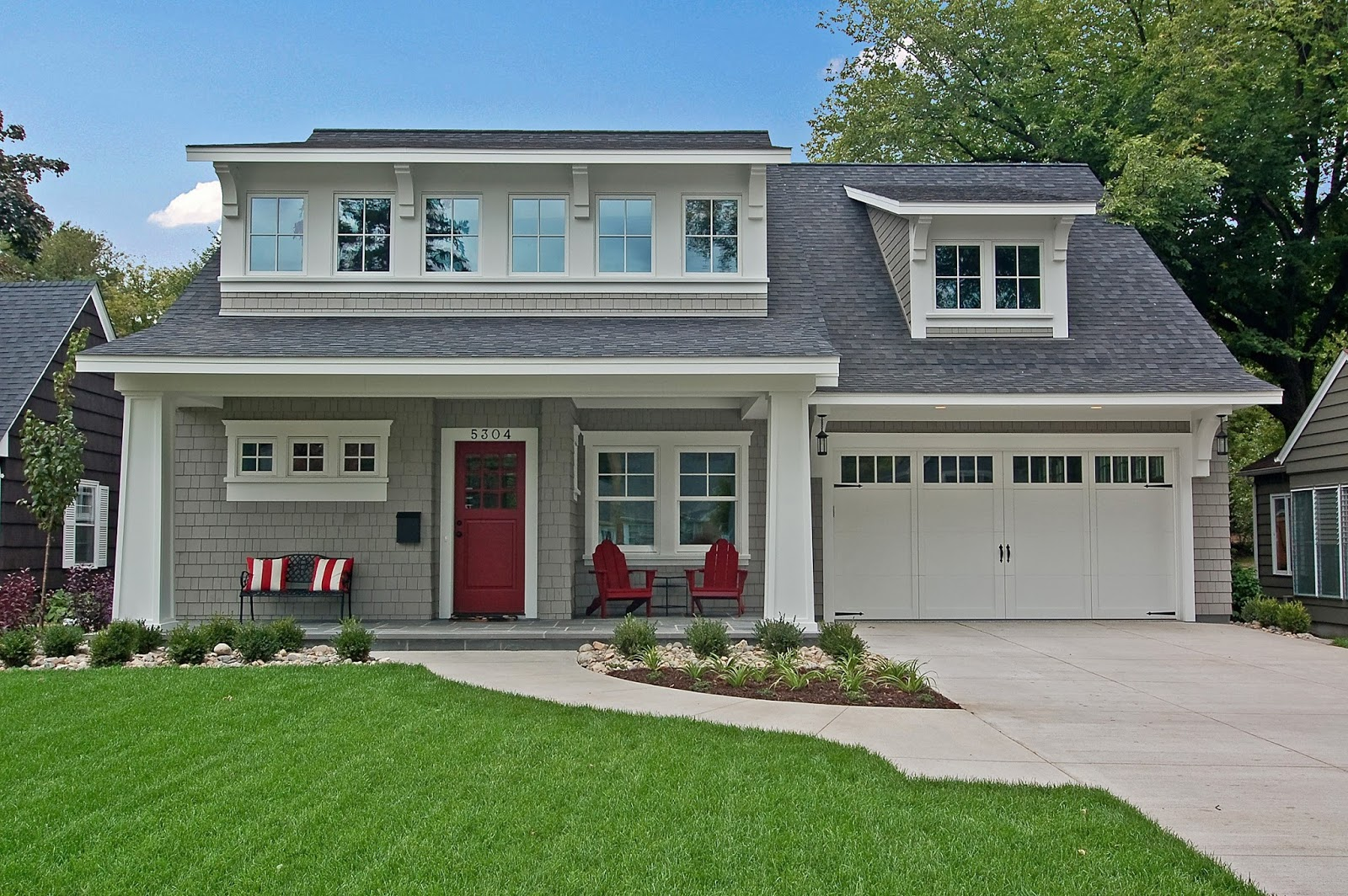 A Modern Bungalow At Great Neighborhood Homes    Love That Red Door!