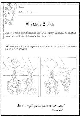 O batismo de Jesus - Atividade 5 erros