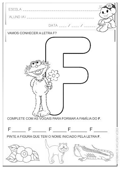 Atividade Educação Infantil Letra F