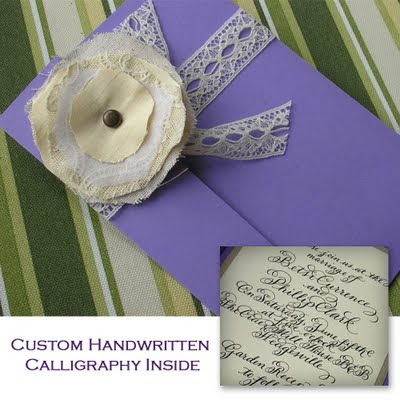 Vintage Rose Calligraphy Wedding Invitation Handmade