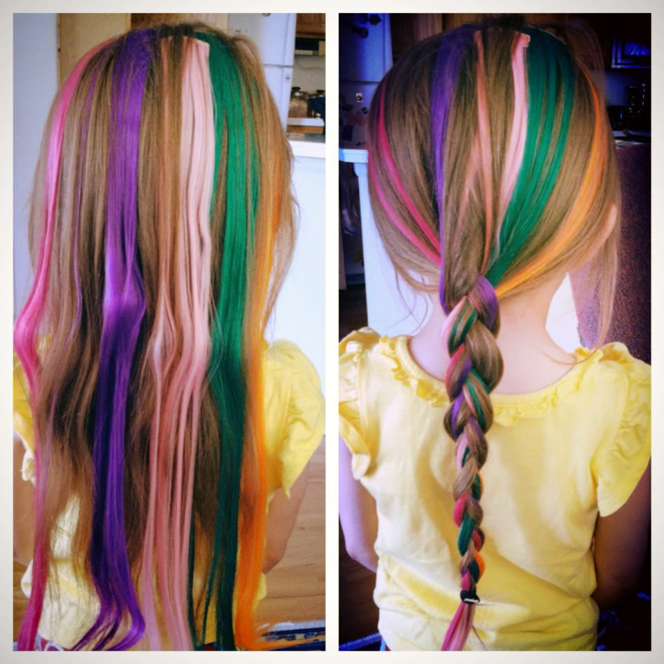 Colorful Hair Extensions For Kids Multi-coloured clip on hair