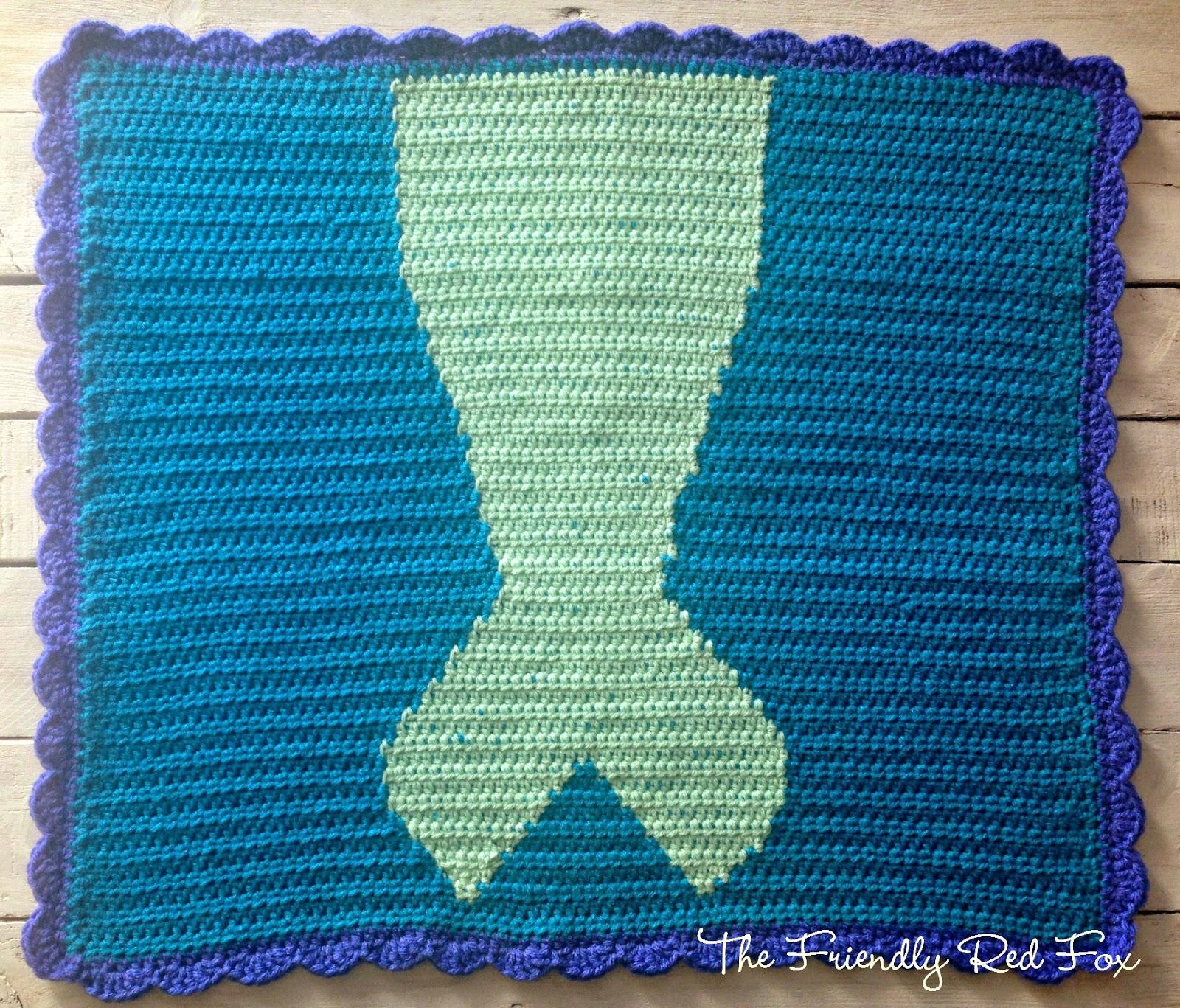 Free Crochet Mermaid Tail Blanket Pattern Thefriendlyredfox