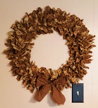 "22"" PRIM COTTAGE CHIC HOMESPUN RAG WREATH"