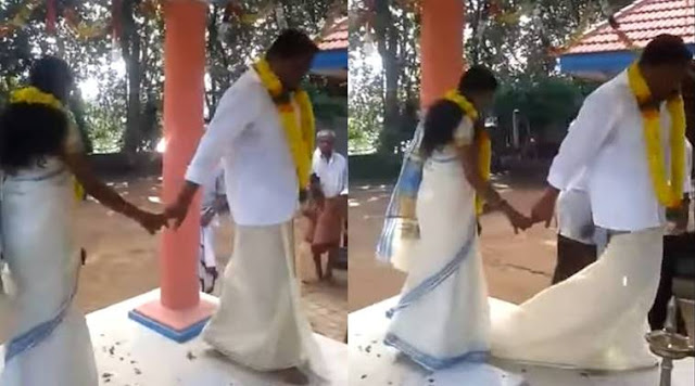 A video that shows wardrobe dysfunction suffered by a Kerala groom has gone viral.   The footage shows the man losing his lungi at one of the most crucial moments of the marriage – while doing saptapadi with his shy bride.