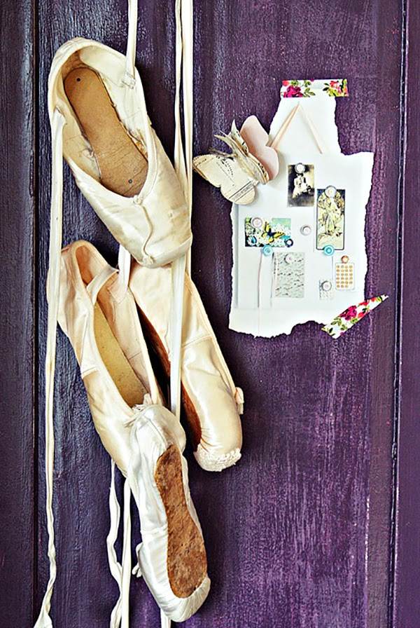 Pink and Lilac Shabby Chic hanging ballet slippers