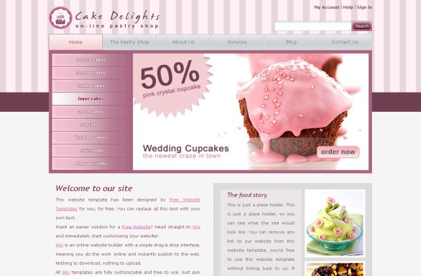 Pink Cake Photoshop CSS HTML Website Template
