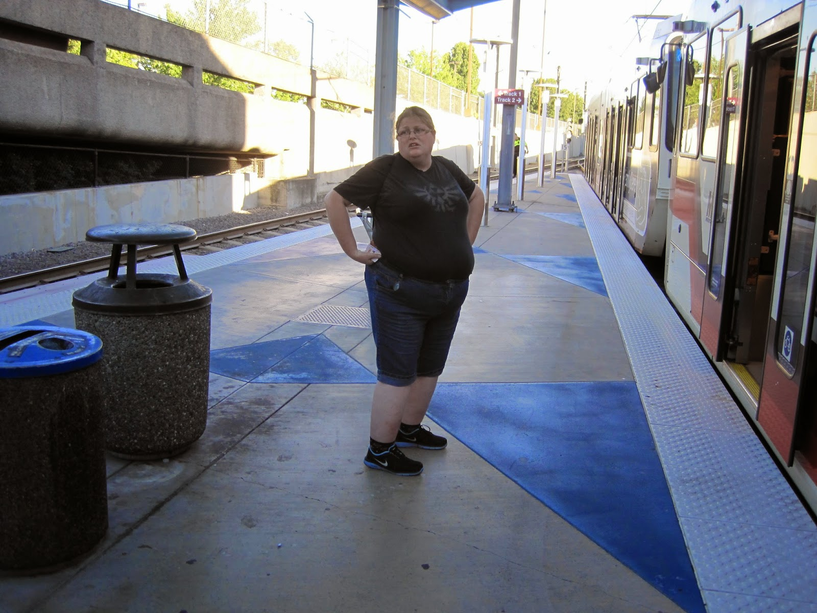 Jo McIntyre getting on the tram at PDX