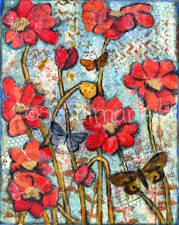 mixed media collage art | butterfly art | red poppy art by @schulmanArt