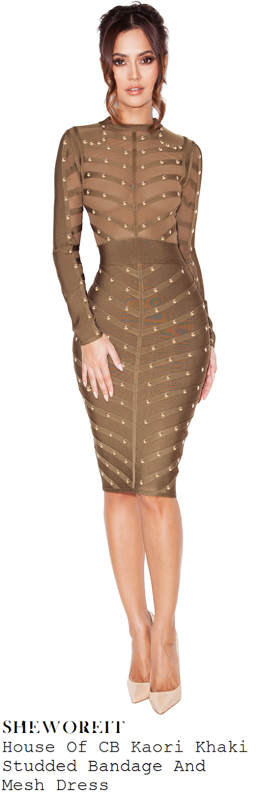 carmen-electra-khaki-gold-studded-long-sleeve-bandage-dress