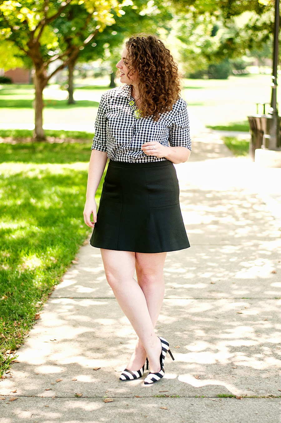 Gingham + stripes + flared skirt outfit
