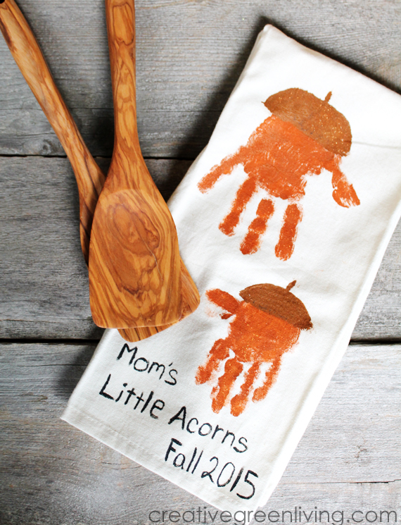kids craft make acorn handprint kitchen towels creative green living