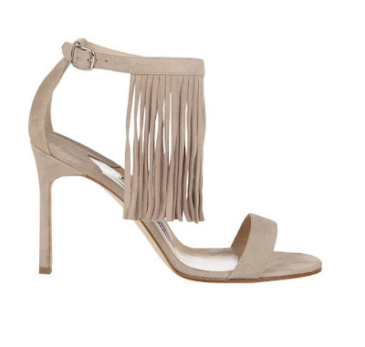 Manolo Blahnik neutral barely there high heeled sandals with fringe detail