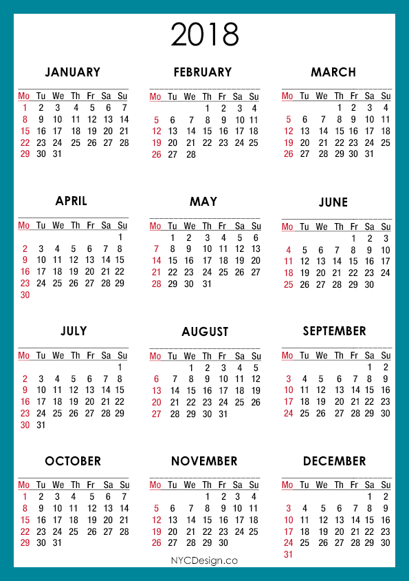 ... Printable 2018 Vertical Calendar On One Page | Calendar Template 2016
