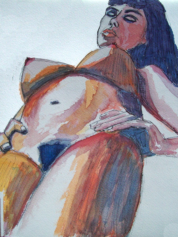 Woman Pencil Ink Watercolor Bending Over
