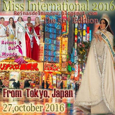 Miss Internacional 2016, 27 de Octubre desde Tokyo, Japan
