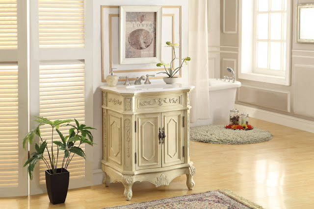 Adelina 27 inch Antique White Finish Bathroom Vanity