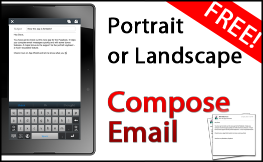 Email applications to Quick Writing for BlackBerry Playbook