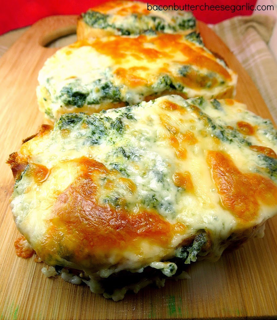 Monterey Jack & Spinach Toasts