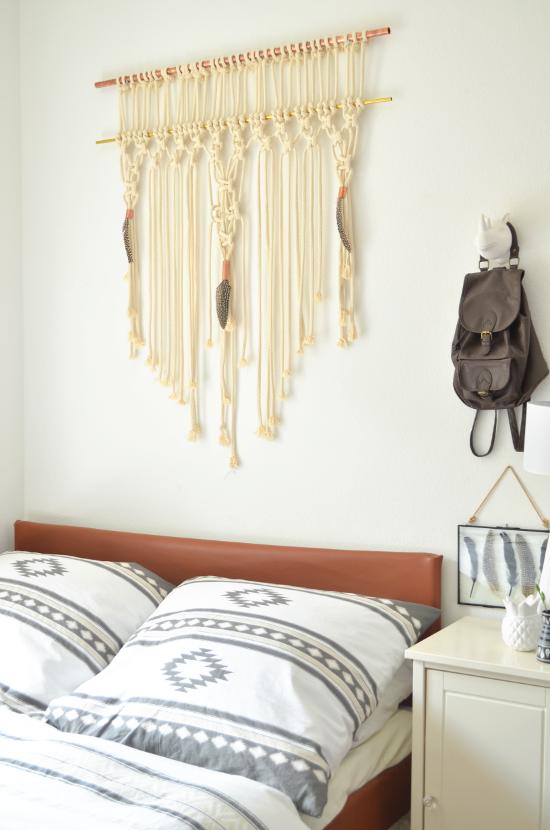 make it boho diy makramee wandbehang mit kupfer und messing. Black Bedroom Furniture Sets. Home Design Ideas
