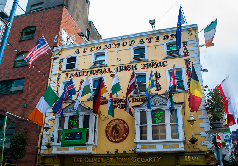 Temple Bar The Oliver St. John Gogarty Bar facade in Dublin Ireland
