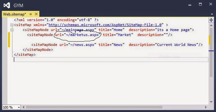 computer programming sitemappath not visible in visual studio 2013