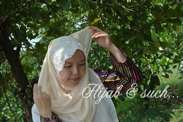 lace shawl, tudung kenduri