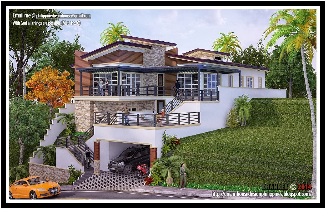 Philippine dream house design a house in a sloping land for Sloped lot home designs
