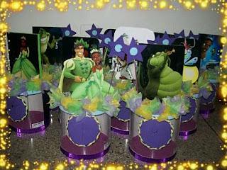 Fiestas Infantiles, Decoracion La Princesa y el Sapo, Centros de Mesa
