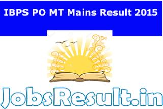 IBPS PO MT Mains Result 2015