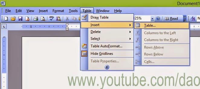 Hướng dẫn cách kẻ bảng trong Word 2003
