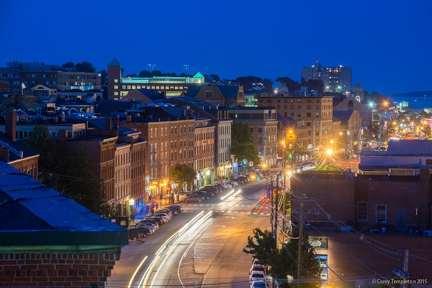 Nighttime view of the Old Port of Portland, Maine USA 321 Commercial Street from Marriott Hotel roof. Photo by Corey Templeton.
