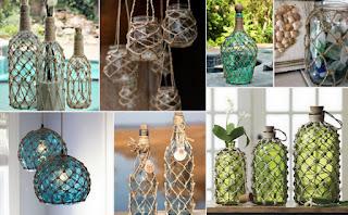 Βάζα-Μπουκάλια σε δίχτυ από σκοινί