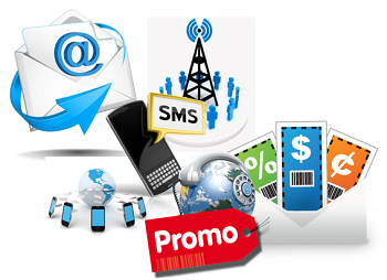 Image of different methods of Promotional Campaigns. SMS, Emails, Coupons, etc..