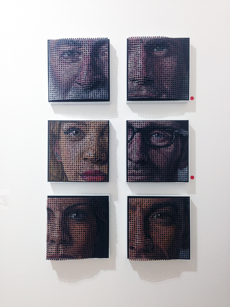 Topographical Facial Series made from screws by Andrew Myers at Art Basel Miami Beach 2014, sold separately