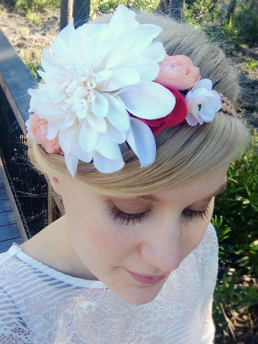Her Winter My Summer Silk Flower Half Crown