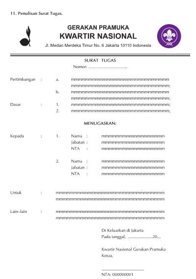 Contoh Surat Tugas Pembina Pramuka Bertemuco