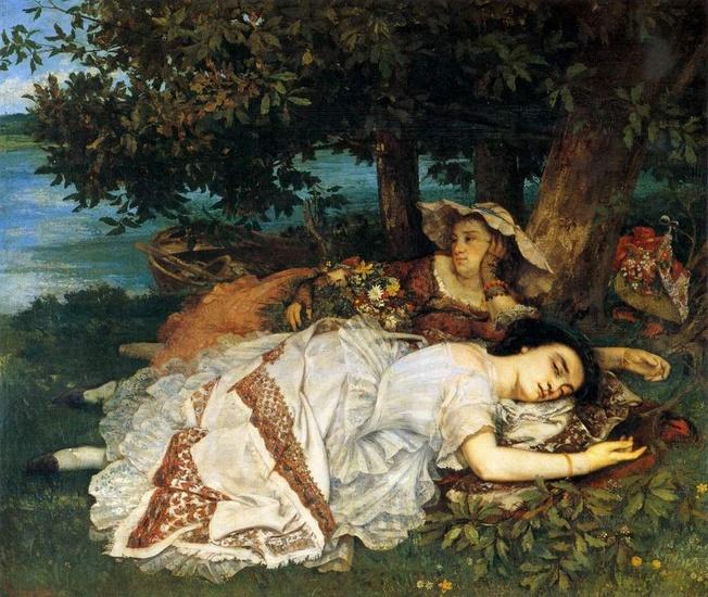 Imagen de la pintura Muchachas a la orilla del Sena de Courbet