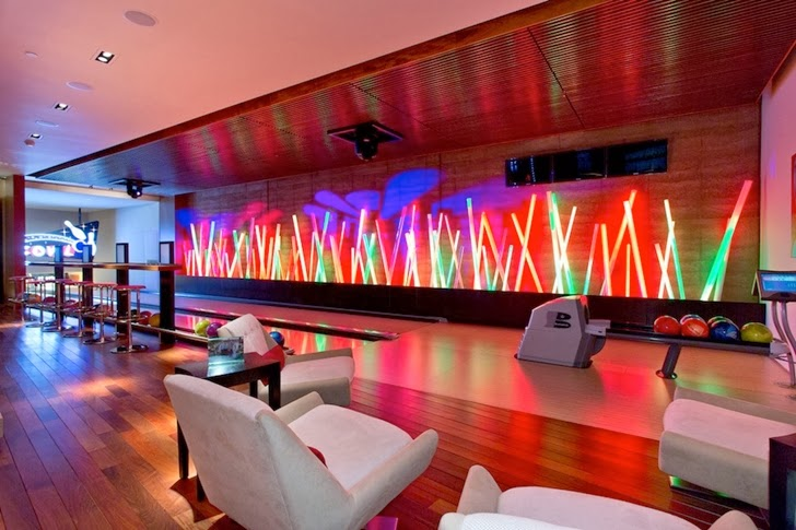 Bowling alley in Multimillion modern dream home in Las Vegas