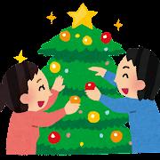 クリスマスツリーの飾り付けをしているイラスト