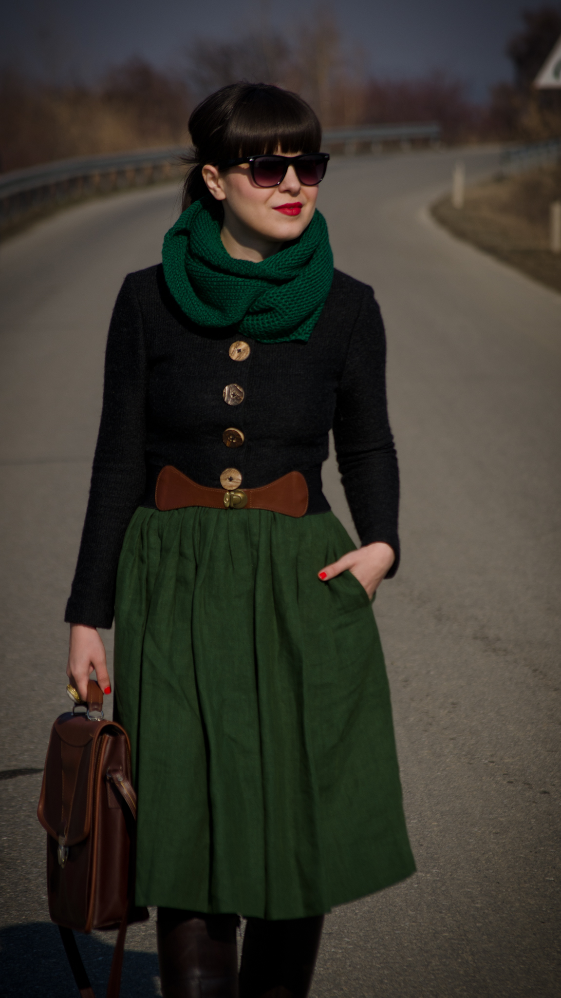 khaki midi dress thrifted brown boots green scarf army green outfit brown satchel bag